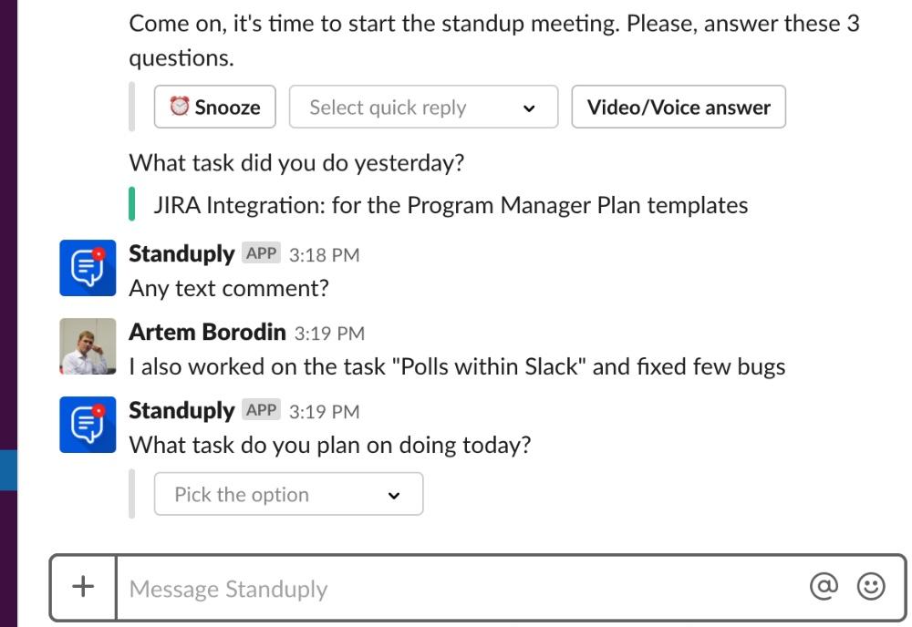 Image result for standuply feedback on tasks